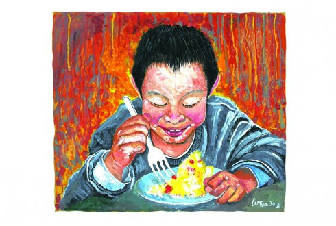 This is Wong Shek Wong, Frank's artwork - Happiness Lies in Contenment